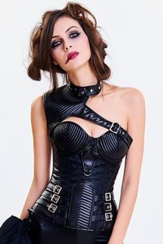 6ed1eebe41fa6 Black Steel Boned Buckled One Shoulder Overbust Corset Steampunk Couture