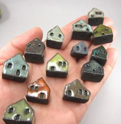Lucky 13...Rustic Miniature Houses in Stoneware for Moss Tearriums or Pot Gardens