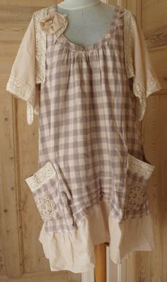UPCYCLED HAND CRAFTED quirky prairie boho LINEN/COTTON tunic LAGENLOOK OSFM   eBay