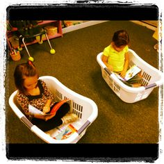 Kindergarten literacy center- books in baskets :) kids would love this! (Image…