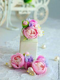 """Нежный комплект с пионами и сиренью """"Феллина"""" холодный фарфор - бледно-розовый"""