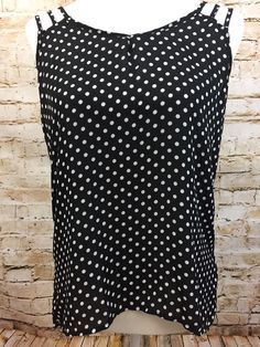 Papermoon For Stitch Fix Black White Polka Dot Sleeveless Blouse Tank Top Sz Med #PapermoonForStitchFix #Blouse