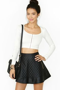Nasty Gal Naomi Quilted Skirt---- need this skirt! Looking for the perfect faux leather skirt!