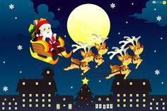 sleigh, Night, Santa, Town