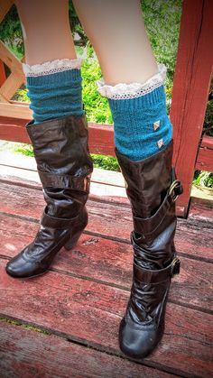 Hunter Green Knitted Wool Blend Leg Warmers- Knitted Boot Socks- legwarmers with Crochet Lace Trim