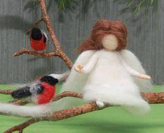 Needle felted Christmas Angel with birds Bullfinches Waldorf