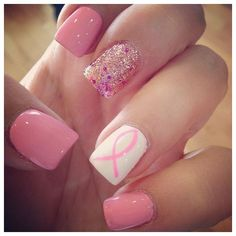 Breast Cancer Awareness Month 50 Nails To Support The Cause ❤ liked on Polyvore featuring accessories and nails