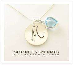 Personalized Initial Sterling Silver Charm Necklace with a Birthstone Heart
