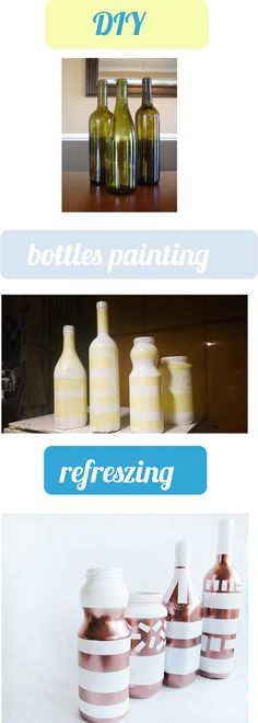 Cooper decoration on bottles. DIY. White and cooper. Vases.