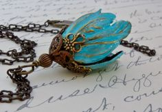Hey, I found this really awesome Etsy listing at https://www.etsy.com/listing/151759763/turquoise-pendant-necklace-tulip-flower