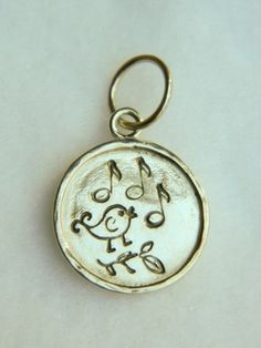 Tweet bird music notes, hand stamped sterling silver necklace pendant | Lundela - Jewelry on ArtFire