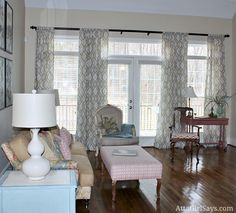 living room curtains above french doors and windows