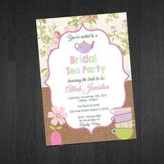 Bridal Shower Tea Party Invitation  - Tea Party Bridal Shower Invitations - Bridal Shower Invitations by MemorableImprints