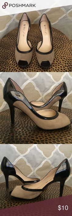 """Unisa heels Light brown suede front with black patent leather lining/back. Peep toe and 3 1/2"""" heel. Great condition. Unisa Shoes Heels"""