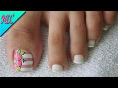 DECORACIÓN de UÑAS PARA PIES FLORES Y FRANCÉS♥ - FLOWERS NAIL ART - FRENCH NAIL ART - NLC - YouTube French Pedicure, Manicure And Pedicure, Hello Nails, Tattoo Drawings, Tattoos, French Nail Art, Luxury Girl, Beautiful Toes, Toe Nail Designs