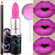 Eye Kandy's Cotton Candy over pink lipstick for these pretty in pink lips