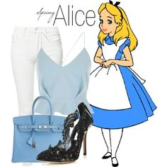 Alice~ DisneyBound by basic-disney on Polyvore featuring mode, River Island, Mother, Oscar de la Renta and Hermès