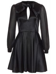 Voodoo Vixen Women's Satin 1940's Influence Dress - Black