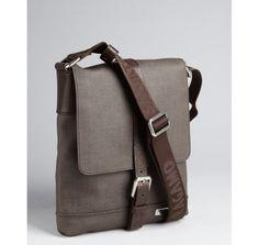 Salvatore Ferragamo coffee coated canvas map case small messenger bag