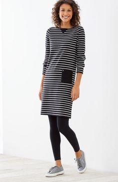 striped knit boat-neck dress | J.Jill