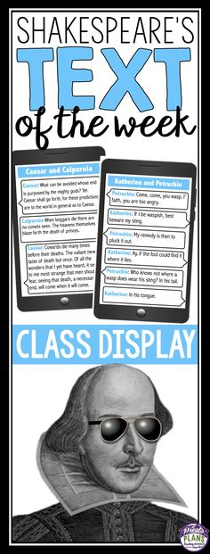 """Bring Shakespeare into the 21st Century with this creative and interactive bulletin board display. Create a """"Shakespeare's Text of The Week"""" board that include actual conversations from Shakespeare's plays. Each poster includes the names of the characters in the conversations, actual text from the play, and the genre and publication date of the play."""