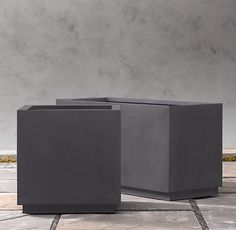 """Cube Sheet Metal Planters $110 for square 18"""" and $150 for trough 37"""" W x 14"""" D x 18"""" H from restorationhardware.com"""