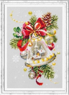 New Counted Modern Floral Cross Stitch kit, Hand Embroidery Kit by Russian Manufacture Chudesnaya Igla, Christmas Ringing Bell, Gift Idea Cross Stitch Christmas Ornaments, Xmas Cross Stitch, Counted Cross Stitch Kits, Modern Cross Stitch, Christmas Bells, Christmas Cross Stitches, Christmas Candle, Cat Cross Stitches, Cross Stitch Patterns