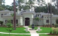 This lovely Mediterranean style home with Spanish influences (House Plan has 4518 square feet of living space. The 2 story floor plan includes 4 bedrooms. Luxury Mediterranean Homes, Mediterranean House Plans, Mediterranean Decor, Mediterranean Architecture, Florida Style, Contemporary House Plans, 242, Georgian Homes, European House