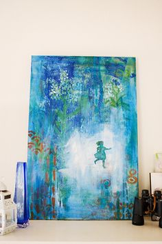 Running Girl Original large abstract acrylic painting by missymuh, $300.00
