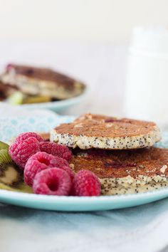Raspberry & Poppy Seed Almond Flour Pancakes are honestly the best pancakes! I even had them for lunch they're so good! From sprinkleofgreen.com