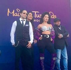 Chris Perez, Suzette Quintanilla, Selena wax figure and Abraham Quintanilla III. August 29,2016 @ Madame Tussouds