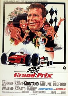 Grand Prix, 1967 - original vintage movie poster for the German release of the 1966 film starring James Garner, Eva Marie Saint and Yves Montand, listed on AntikBar.co.uk