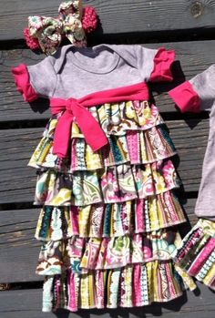 Custom made Ruffle infant gown layette take by Rufflesnbuttons