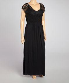 This Black Crochet Cap-Sleeve Maxi Dress - Plus is perfect! #zulilyfinds