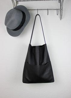 Ledertaschen - schwarzer Leder Shopper, Tote Bag, Hobo - ein Designerstück von sjaelv bei DaWanda