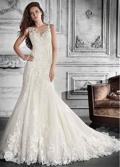 Charming Tulle Jewel Neckline A-line Wedding Dress With Lace Appliques