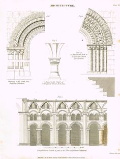 """Rees's Cyclopaedia Architecture - """"DURBAM CATHEDRALE - Plate XVII"""" - Steel Engraving - 1819"""