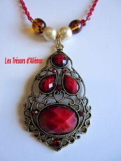 Collier § Sautoir Style Oriental Rouge, chaîne à DEUX couleurs