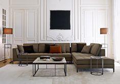 B&B Italia Elegance Furnishings for Classic Modern Living Room Design Featuring Cool Tan with Black Trim L-Shaped Sofa,. Sofa Design, Futuristisches Design, Floor Design, Design Ideas, Milan Design, My Living Room, Living Room Decor, Living Spaces, Sofa Furniture