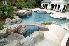 Multi level pool with rock bridge California Pools, Summer Kitchen, Swimming Pools, Backyard, Exterior, Park, Architecture, Water, Outdoor Decor