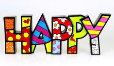 Gift Craft Romero Britto Happy Letters Word Pop Art Figurine - Richards Expo Happy Words, Love Words, Evil Gnome, Dream Word, Collectible Figurines, Decorating Small Spaces, Craft Gifts, Special Gifts, Pop Art