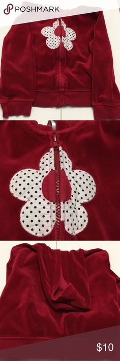 Girls Gymboree zip up hoodie jacket Velvet zip up jacket with flower  Small 5-6 Gymboree Jackets & Coats