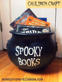 Spooky book cauldron craft! Make it soon for Halloween read-alouds!