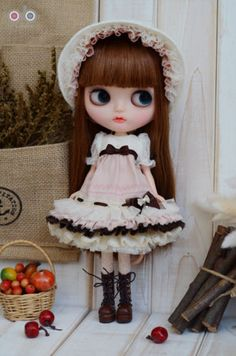 Lovable-Dolly-Lolita-dress-set-for-Kenner-Blythe-doll-cloths-outfits-Pink