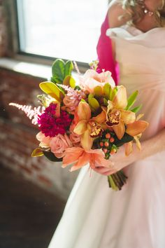 Hand Tied Wedding Bouquet With Unique Ingredients: Peach Amaryllis, Pink Roses, Pink Astilbe, Orange Cymbidium Orchids, Coral Hypericum Berries, Additional Coordinating Florals & Greenery/Foliage