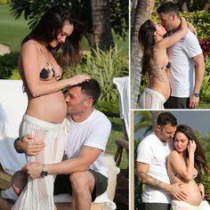 Pregnant Megan Fox Poses in a Bikini and Shows PDA With BAG - www.popsugar.com