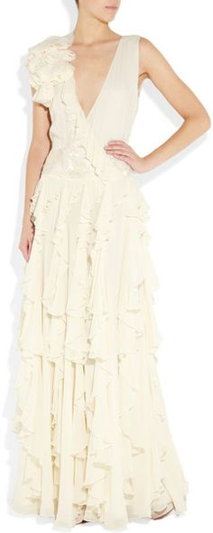 MATTHEW WILLIAMSON  White Backless Silk-chiffon Gown  Matthew Williamson gown: ivory silk chiffon, tonal pearlescent bead and sequin embellishment, low V-neck, raw-trimmed ruffles at one shoulder, wrap-effect front, tiered ruffles through skirt, cutout back, fully lined.