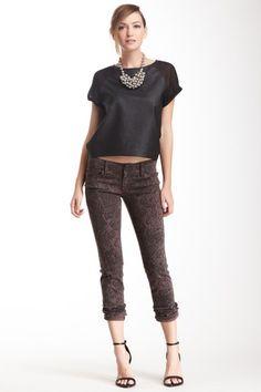 Black Jewel Animal Print Skinny Leg Jean on HauteLook