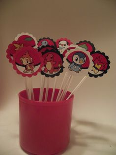 12 POKEMON Cupcake Toppers - 6 inch food grade sticks - Children's Birthday Party Supplies. $6.00, via Etsy.