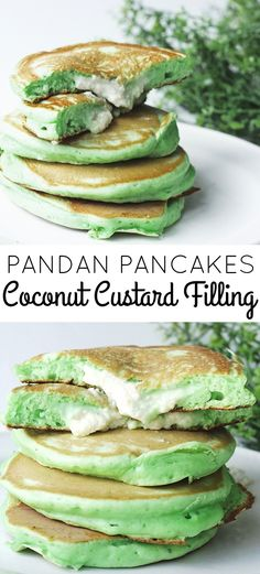 A delicious and fluffy pandan pancakes with coconut custard filling! Bringing in the Southeast Asian flavours! #pancakes #pandan #coconut